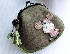 Metal Frame Purse - Patchwork Reindeer from Lily's Handmade - Desire 2 Handmade Gifts, Bags, Charms, Pouches, Cases, Purses by DaWanda.com