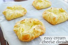 Easy Cream Cheese Danish :: Love, Pomegranate House - These came our really good. They were pretty easy and very tasty. I added a glaze drizzle of 1 cup powdered sugar, 1 Tbsp Milk, 1 tsp vanilla, mix well and drizzle over danishes. So yummy! Cream Cheese Puff Pastry, Cream Cheese Danish, Cream Cheeses, Breakfast Recipes, Dessert Recipes, Breakfast Time, Sweet Breakfast, Puff Pastry Recipes, Danish Recipe Using Puff Pastry