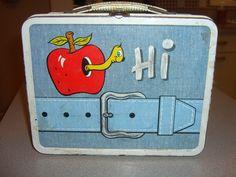 worm in apple vintage lunchbox