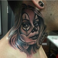 Clown girl by @manuel_valenzuela #mexicanstyle_tattoos #mexstyletats #mexicanculture #ink #tattoo #blackandgrey #payasatattoo #clowngirltattoo