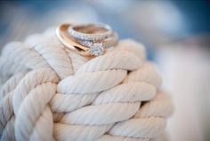 The rings on the fishermans knot tied at the ceremony.