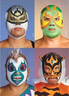 from Luna Córnea Lucha Libre Mexican Wrestler, Masks Art, Super Hero Costumes, Band Posters, Folk Art, Wrestling, Kawaii, Retro, Ranger