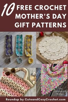 Cute last minute free crochet pattern gifts for Mother's Day. Make a beautiful and quick crocheted gift for Mom this year! Granny Square Crochet Pattern, Crochet Round, Crochet Granny, Crochet Yarn, Easy Crochet, Free Crochet, Crochet Patterns, Crochet Cozy, Crochet Ideas