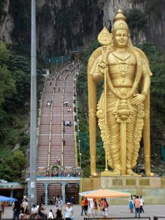 Statue of the Lord Murugan, at the Batu Caves temple (near Kuala Lumpur), Gombak district, Malaysia. One of the most revered Hindu temples in the world... in a Muslim country.