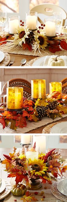 Instant Thanksgiving candlescape: You may make your pies from scratch or use a secret family recipe for stuffing, but it's OK to bring some pre-prepared items to your Thanksgiving table. We've already done the design work—just choose a harvest centerpiece arrangement from Pier 1 and add candles or LEDs for an inviting glow.