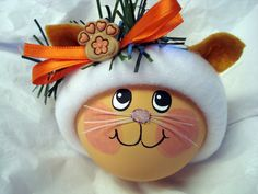 Orange Tabby Cat Christmas Ornament Hand by TownsendCustomGifts, $16.95