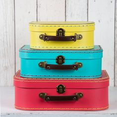 Sass & Belle Set of 3 Brights Retro Suitcase at Flamingo Gifts.