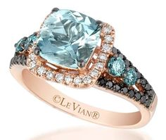 Le Vian Baby Blue Sea Blue Aquamarine Ring in the Cush'n Pillow shape, framed within a halo of Vanilla Diamonds, set in sweet Strawberry Gold and accented with Iced Blueberry and Blackberry Diamonds Aquamarine Jewelry, Diamond Jewelry, Jewelry Rings, Jewelry Accessories, Fine Jewelry, Jewelry Design, Jewlery, Aquamarine Stone, Ring Verlobung