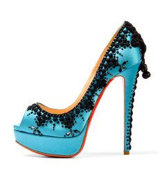 4c4509933d01 Christian Louboutin someone said. i think the lace is just so pretty Blue  Heels