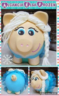Recycled Crafts Kids, Crafts For Kids, Personalized Piggy Bank, Pig Crafts, Cute Piggies, Money Box, Beaded Embroidery, Altered Art, Decoupage