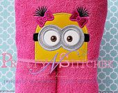 Girl Underling Peeker Applique Embroidery design (5X7 Hoop) minion inspired