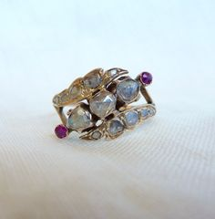 An Antique Georgian Rose Cut Diamonds and Rubies in 14kt Rose Gold Ring - Roxanne by RomanceVintageJewels on Etsy