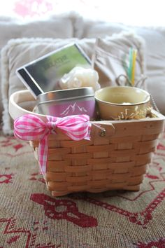 Small therapeutic breast cancer gift baskets available at www.breastcanceryoga.com/GiftBaskets.html