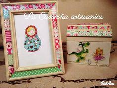 Porta retrato y cofre en patchwork