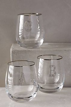 Etched Monogram Glass
