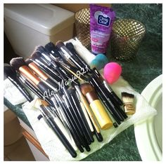 My brushes. I clean them using Clean & Clear face wash.
