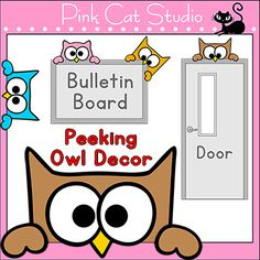 These fun peeking owls will look adorable in your classroom. Stick them on the corner, top or bottom of anything with a frame and you have a cute owl peeking around the frame. Use them just as decoration or play fun games with your students. By Pink Cat Studio