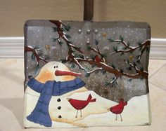 Handpainted Snow Shovel with snowman and cardinal