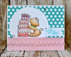 Birthday Cake Card by Amanda Bodine | Newton Loves Cake Stamp set by Newton's Nook Designs #newtonsnook