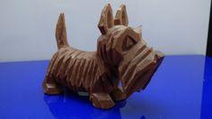 Brown Wood Carved Scottish Terrier Scottie Schnauzer Dog Figurine Detailed!
