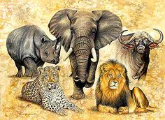 the big 5 African Artwork, African Art Paintings, Animal Paintings, Animal Drawings, African Animals, African Elephant, Africa Drawing, Amazing Animal Pictures, Lion Tattoo Sleeves