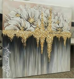 Giant Wall Art, Art Deco Paintings, Flower Art Drawing, Art And Hobby, Acrylic Painting Flowers, Gold Leaf Art, Abstract Canvas Art, Drawings, Ideas
