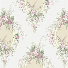 Pink and White Floral Cameo Wallpaper