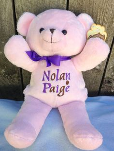 Personalized baby gift pink teddy bear birth announcement personalized baby gift pink teddy bear birth announcement personalized by world class embroidery personalised baby teddy bear and bears negle Gallery