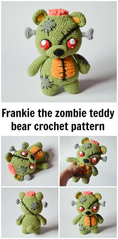 Hahaha a zombie teddy bear! Awesome. Crochet pattern for those who don't want a traditional teddy! Walking Dead fans crochet pattern for zombies!