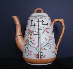 Aesthetic Movement Coffee Pot, Antique 19th C English Stoneware, Brownhills - For sale on Ruby Lane #RubyLane