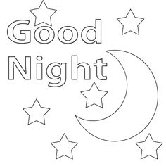Good Night Coloring Pages Printable :We all say Good Night