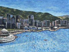 'Wellington Harbour' by AnnaCullArt, $660.00 USD
