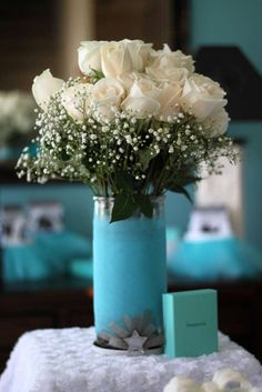 Lovely roses at a Tiffany birthday party!  See more party planning ideas at CatchMyParty.com!