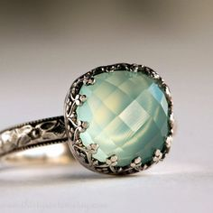Aqua Chalcedony Cocktail Ring in Sterling Silver par 36ten sur Etsy, $129.00