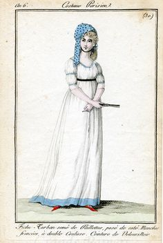 Very sweet white dress with blue trimmings. Costume parisien, an 6