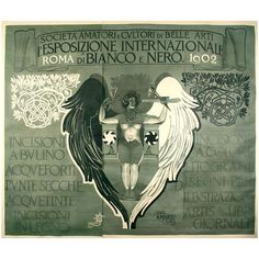 Rare Italian Poster by Mataloni for Black and White Art Exhibit, 1902   From a unique collection of antique and modern posters at http://www.1stdibs.com/furniture/wall-decorations/posters/