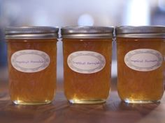 Grapefruit marmalade (powdered pectin) Options: sub two oranges for one grapefruit or add some vanilla bean to the pot.