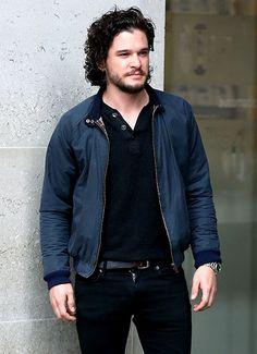 Game of Thrones hunk Kit Harington arrived at BBC Radio studios in London April 29.