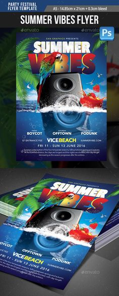 Buy Summer Spring Break Festival Party Flyer Template by SanGraphics on GraphicRiver.