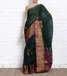 Dark Green Pink and Cotton Silk Saree. Shop now @ http://www.indianroots.in/brands/r-z/tithli-silks/dark-green-pink-cotton-silk-saree