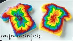 Rainbow Tie-Dye T-Shirt Sugar Cookies!! - How To Make Tie Dye Cookies -- Watch Crouton Crackerjacks create this delicious recipe at http://myrecipepicks.com/26202/CroutonCrackerjacks/rainbow-tie-dye-t-shirt-sugar-cookies-how-to-make-tie-dye-cookies/