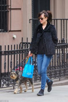 Walk tgis way: The pair took a stroll to Juice barLiquiteria in the West Village together...