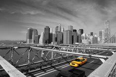 Vinyl Fotobehang Brooklyn Bridge Taxi, New York -
