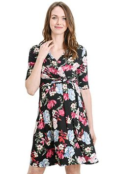 6c2cda7f6c Showyoo Women s Short Sleeve Maternity Nursing Dress for Breastfeeding  Black S