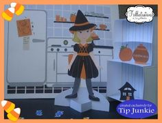 Halloween Special - Adorable Halloween Paper Doll - by Trillustrations  ==          A very beautiful dress up paper doll by designer Tricia Rennea, from Trillustrations, exclusively for Tip Junkie website.