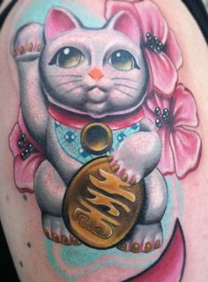 Image result for realistic maneki neko tattoos