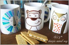 How to Make Sharpie Animal Mugs - owl, lion and monkey.
