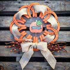 Fall Harvest Pumpkin Orange Horseshoe Wreath by SteelLovedShoes