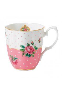 Royal Albert Cheeky Pink Vintage Mug.  At Waterford Wedgwood Royal Doulton, Tanger Outlets, San Marcos, TX or call 1-800-203-4540 or 512-396-4025.  We ship.
