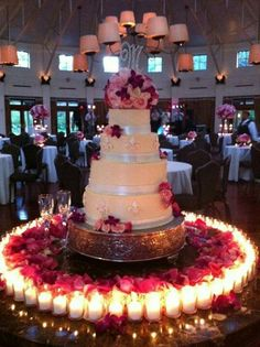 Wedding Cake surrounded by candles..love it!!!